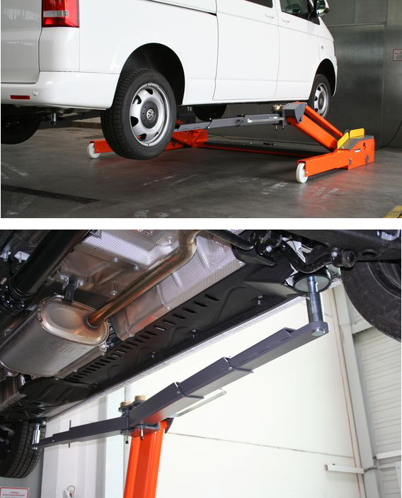 Los brazos telescópicos asimétricos permiten la utilización con vehículos largos como son las furgonetas