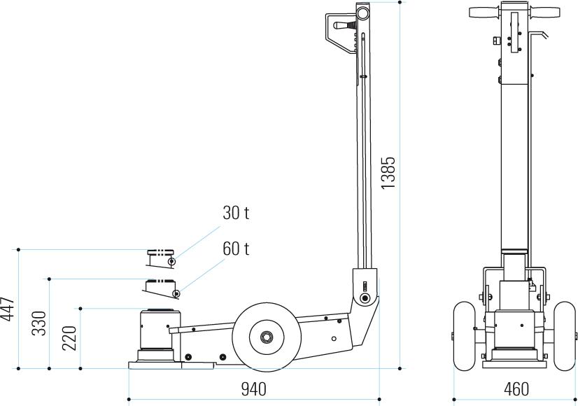 Gatos oleoneumáticos para mineria PTJM10072 dimensiones