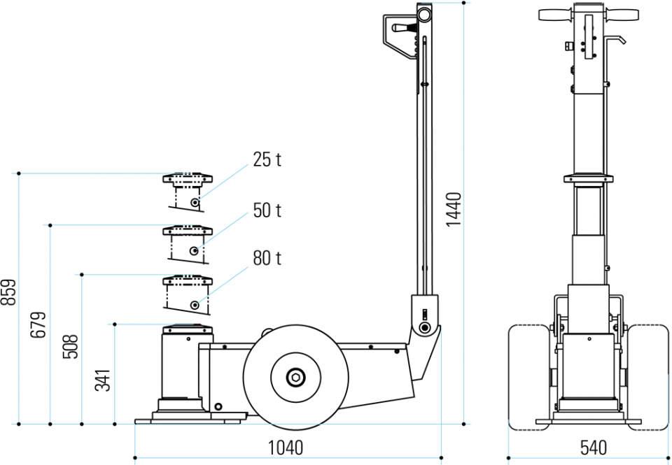 Gatos oleoneumáticos para mineria PTJM8031 dimensiones