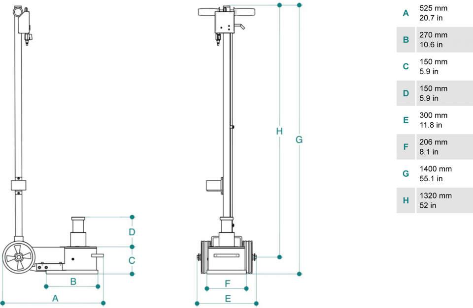 Gato oleoneumatico de 40 t PTJ40152 dimensiones