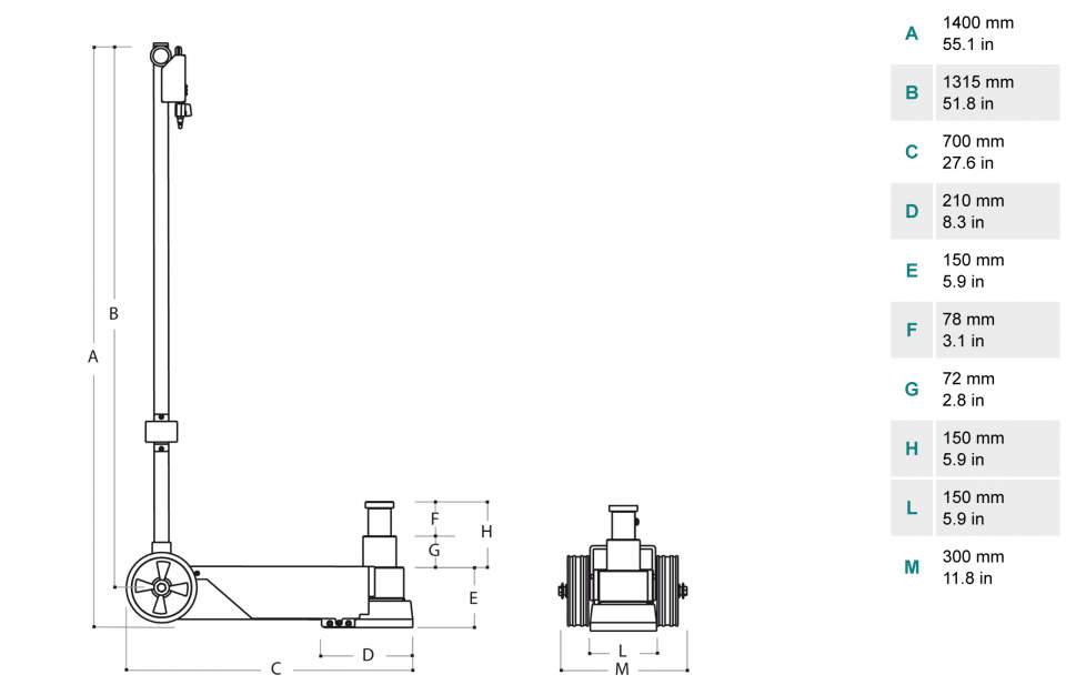 Gato oleoneumatico de 40 t PTJ40152L Dimensiones
