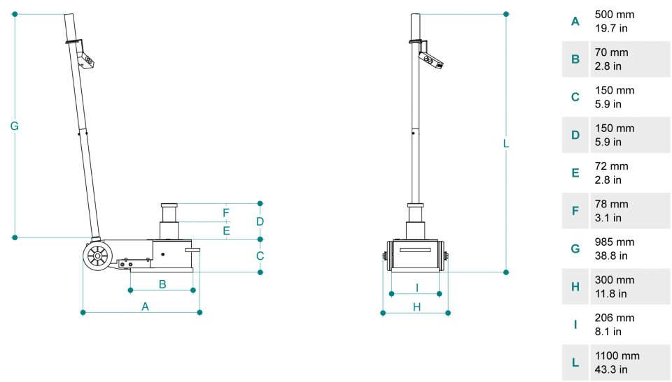 Gato oleoneumatico para servicio movil de 40t PTJ40152P dimensiones