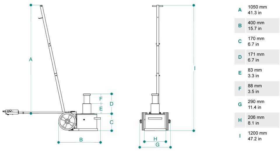 Gato oleoneumatico para servicio movil de 40t PTJ4017M dimensiones