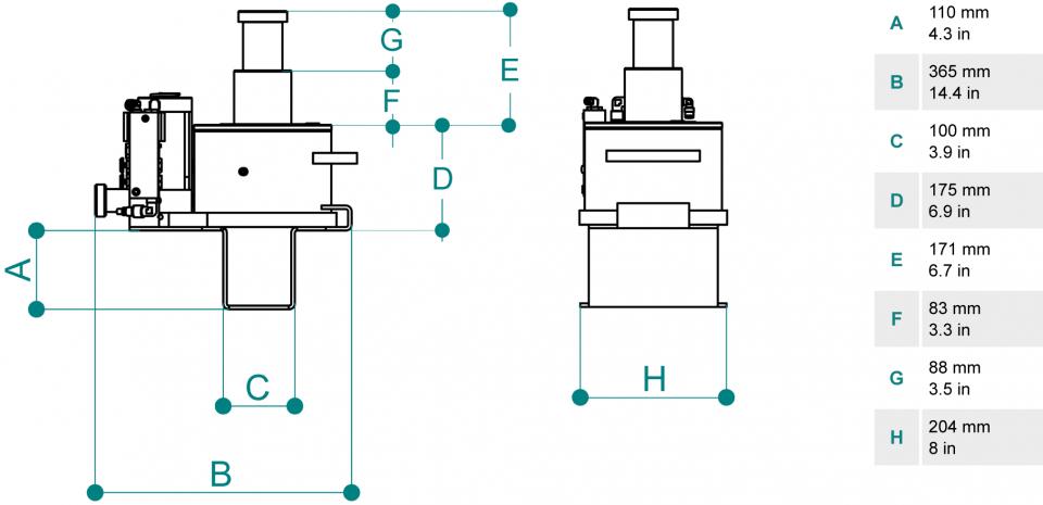 Gatos de foso para vehiculos pesados PTJ30212Tm dimensiones