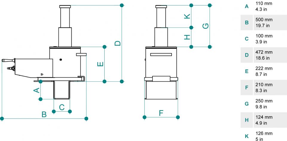 Gatos de foso para vehiculos pesados PTJ30212T dimensiones