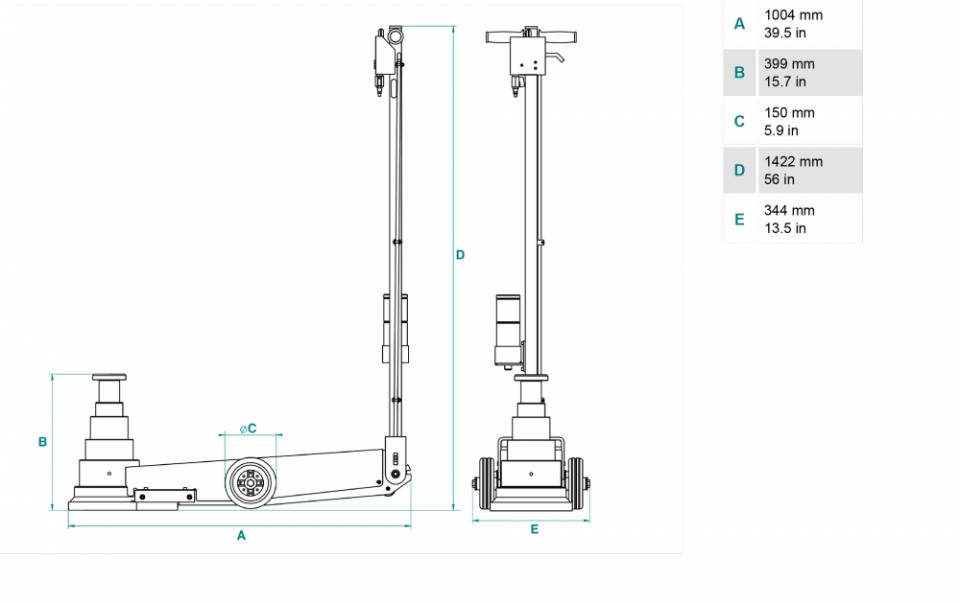 Gato oleoneumatico para vehículos pesados de 70t PTJ70154R dimensiones