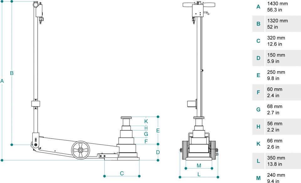 Gato oleoneumatico para camiones de 70t PTJ70154 dimensiones