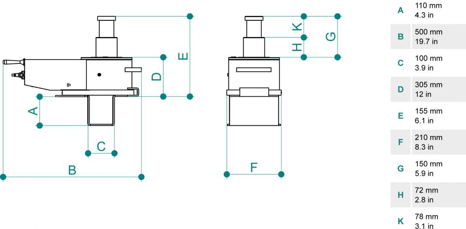 Gatos de foso para vehiculos pesados PTJ30152TM dimensiones